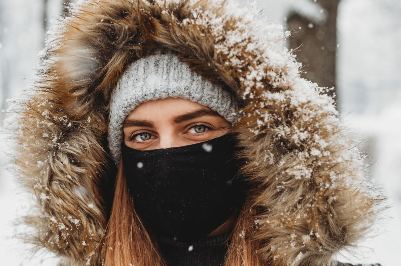 Portrait of woman with snow covered face