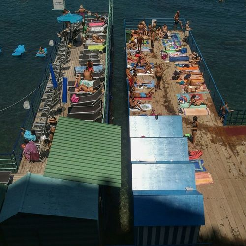 Sorrento, Italia Very Italian People Jetty, Pier Bathers Sea Decking Relaxing Hanging Out Colourful Summertime Weekend