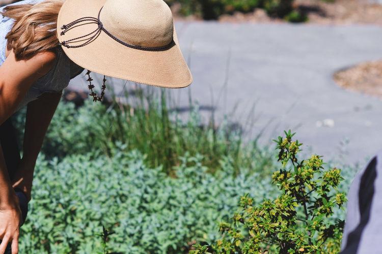 Woman In Hat Bending By Plants