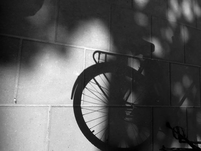 High angle view of bicycle shadow on tiled floor