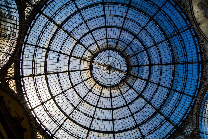 Harmony Travelphotography Travel Blick Nach Oben Mailand Milano Italy Sky Rooftop Galleria Vittorio Emanuele II Pattern Ceiling Circle Geometric Shape Built Structure