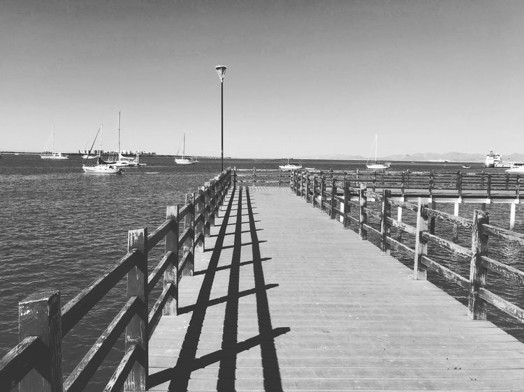 La Paz, BCS. Sea Water Pier Day Outdoors Clear Sky Tranquil Scene No People Sunlight Nautical Vessel Harbor Nature Tranquility Scenics Beauty In Nature Beach Sky Horizon Over Water Jetty