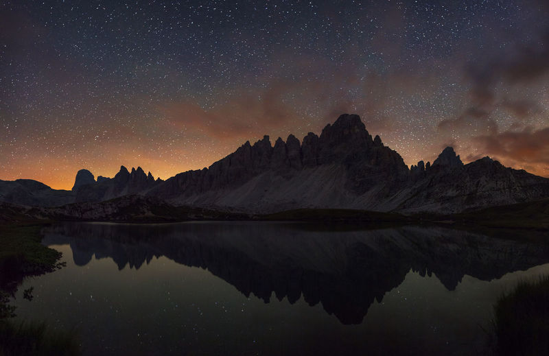 Dolomite Mountains, Italy. Alpine Alps Astronomy Beautiful Beauty Dolomites Dolomites, Italy Europe Italy Lake Landscape Mountain National Park Nature Night No People Outdoors Reflection Sky Star - Space Stars Tourism Travel Travel Destinations Fresh On Market 2017