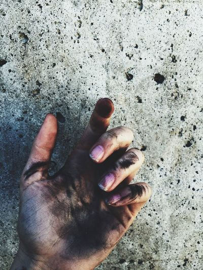 Cropped Image Of Dirty Hand Against Wall