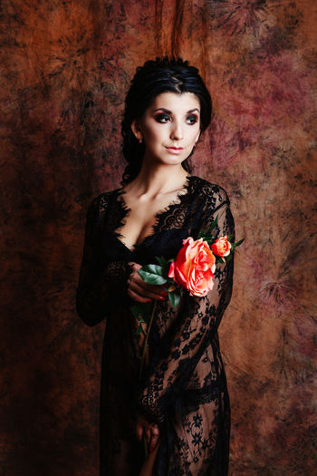 Fashion Flowering Plant Holding Flower Looking At Camera Mua Standing Studio Brunette Dressing Gown Flower Flower Head Front View Hairstyle Holding Lingerie Lingerie Model Lingerie Shoot Make Up Roses Rosé Studio Shot The Portraitist - 2018 EyeEm Awards