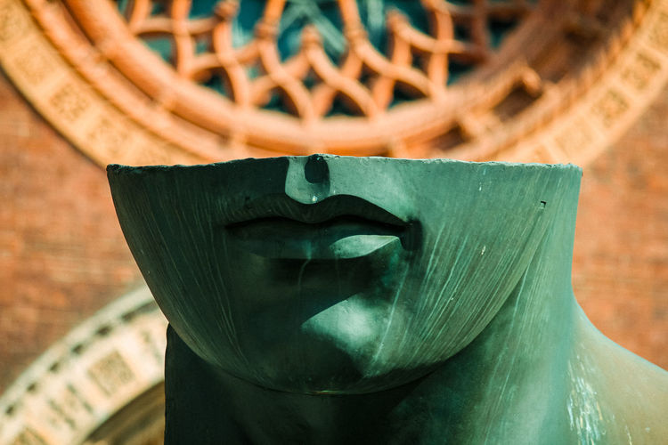 Close-up of statue in basket