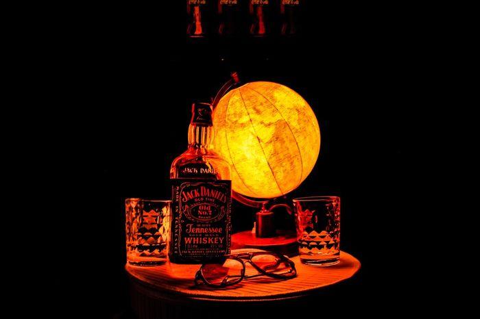Jack Daniel's Jack Daniels Whiskey Glowing Indoors  Illuminated Black Background Lighting Equipment Studio Shot Yellow Glass - Material Close-up Night