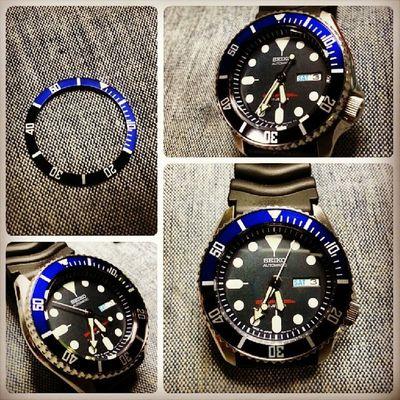 New bezel insert for my baby!! I love the colour!! Seiko Skx009j Diver