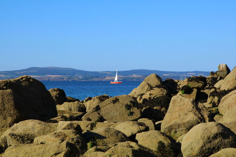 Beauty In Nature Blue Clear Sky Day Horizon Over Water Mountain Nature No People Outdoors Rock - Object Scenics Sea Sky Tranquil Scene Tranquility Water