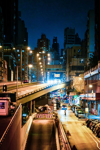 City street and buildings at night
