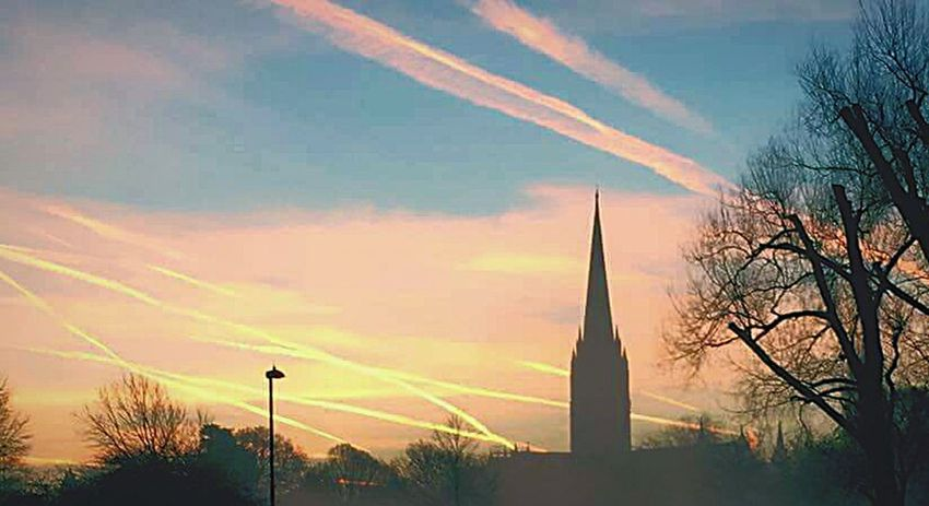 Sunset Tree Sky Cloud - Sky Silhouette Outdoors Day Aerosols Lines In The Sky GeoEngineering Chemical Sky Chemtrails Whatthefuckaretheyspraying Spire  Church Spire