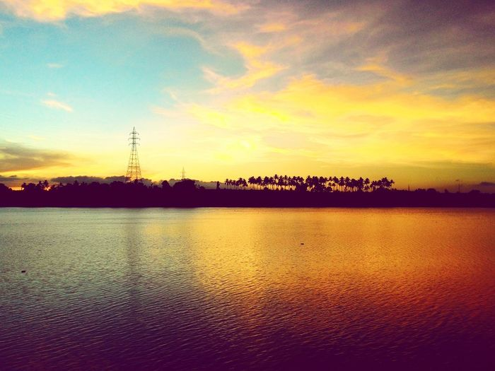 Sunset Reflection Cloud - Sky Nature Sky No People Water Tranquility Lake Scenics Beauty In Nature Outdoors Landscape Tree Day