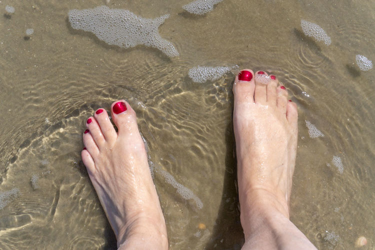 Low section of woman legs at beach