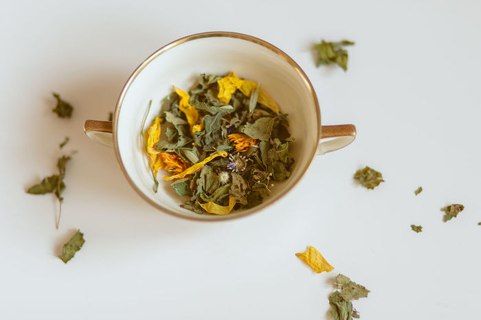 Green Herbs Dandelion Fasting Food And Drink Herbal Tea Indoors  No People Organic Petal Tea - Hot Drink White Background Yellow