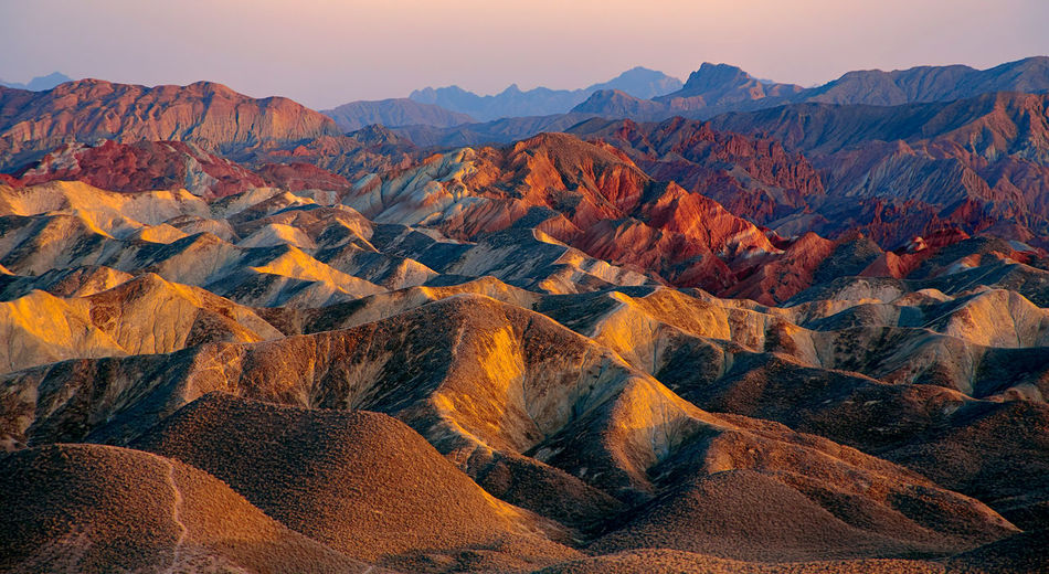 Zhangye Danxia landform in Gansu, China Beauty In Nature China Colorful Danxia Desert Gansu Province Geomorphology Landscape Mountain Mountain Range Multicolored Natural Phenomenon Nature No People Outdoors Rainbow Colors Travel Travel Destinations