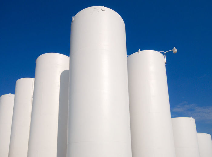 White storage tanks at a propane facility