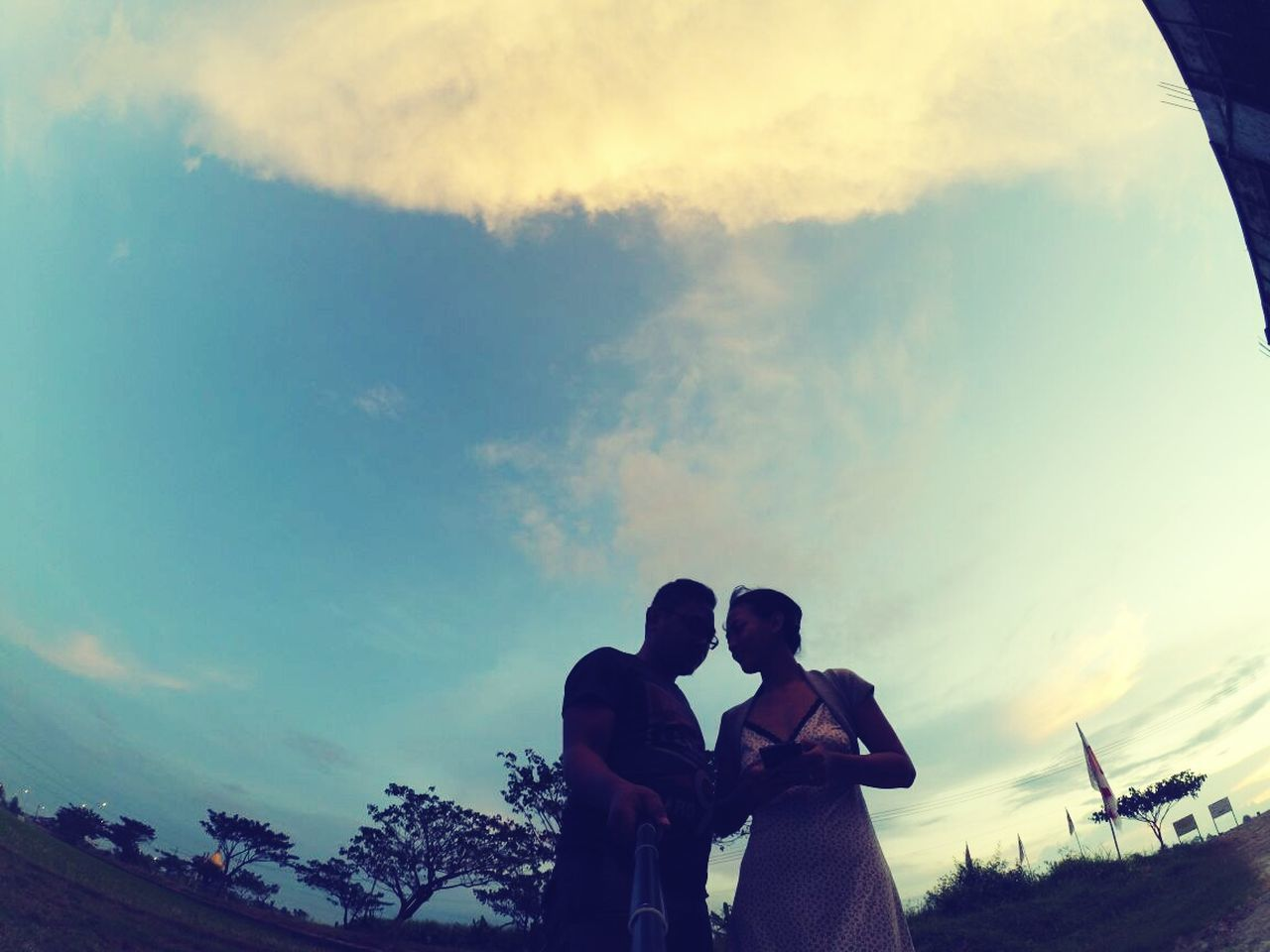 sky, real people, two people, love, togetherness, cloud - sky, bonding, lifestyles, low angle view, men, leisure activity, selfie, outdoors, communication, silhouette, women, nature, photographing, tree, sunset, technology, standing, photography themes, friendship, wireless technology, beauty in nature, day, people