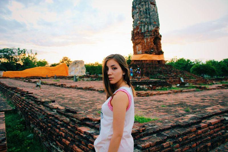 Looking back behind Ayutthaya Ruins Looking Back Girl Beautiful Ayutthaya Bangkok Sunset