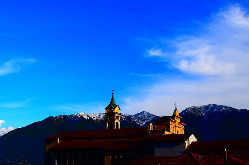 Architecture Built Structure Building Exterior Sky Blue Place Of Worship Religion Mountain Day Outdoors EyeEmNewHere EyeEm Best Shots EyeEm Nature Lover Nature Switzerland 2017 Locarno Low Angle View Dome Cloud - Sky History Travel Destinations Spirituality Statue Nature