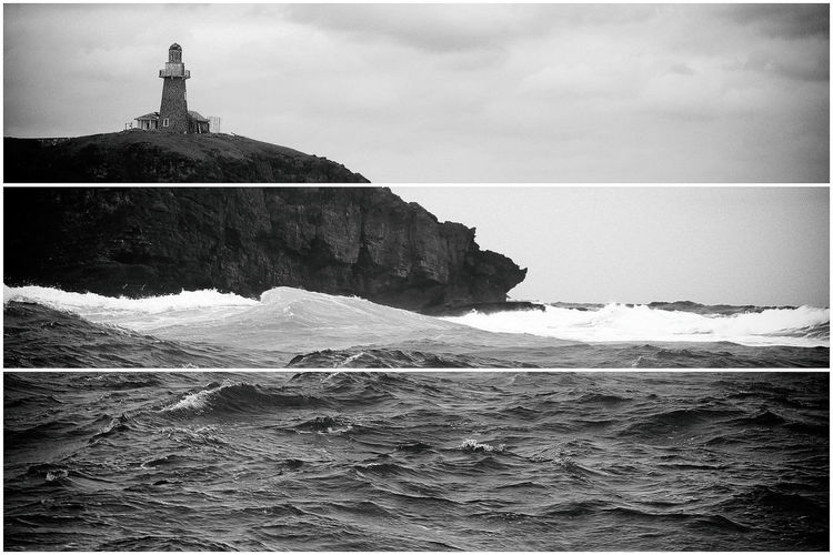The famous Batanes lighthouse. Made with Multilens camera in Analog Efex Pro 2. Three slices of photo with different size and angle. Capturing Freedom Canon Blackandwhite Landscape Lighthouse Sea And Sky