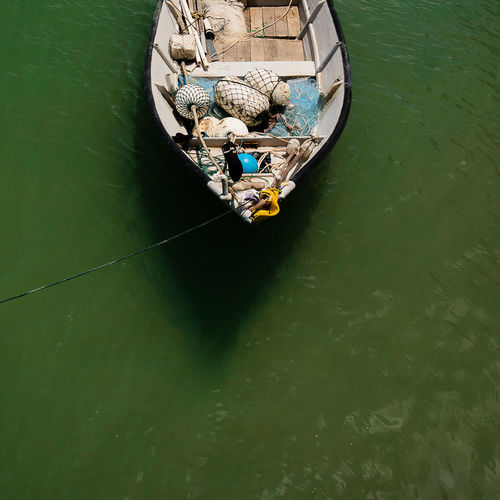 High angle view of boat sailing on river