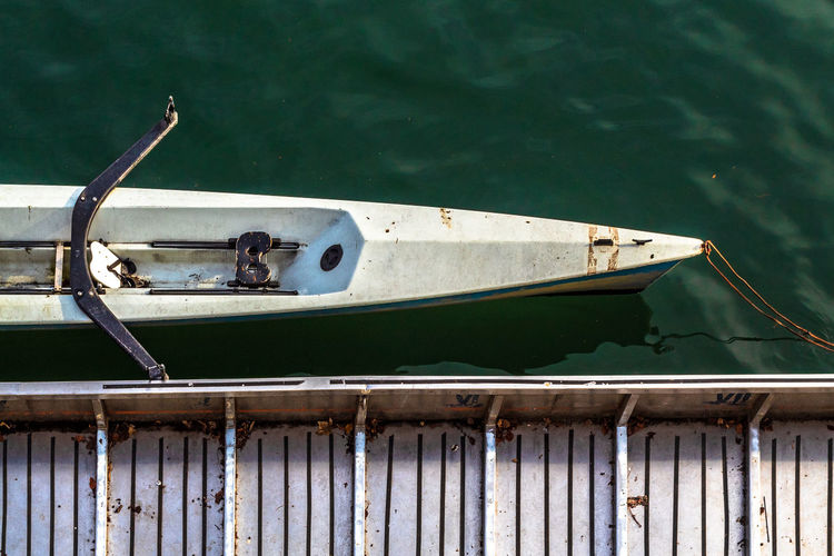High angle of canoe at the jetty on river
