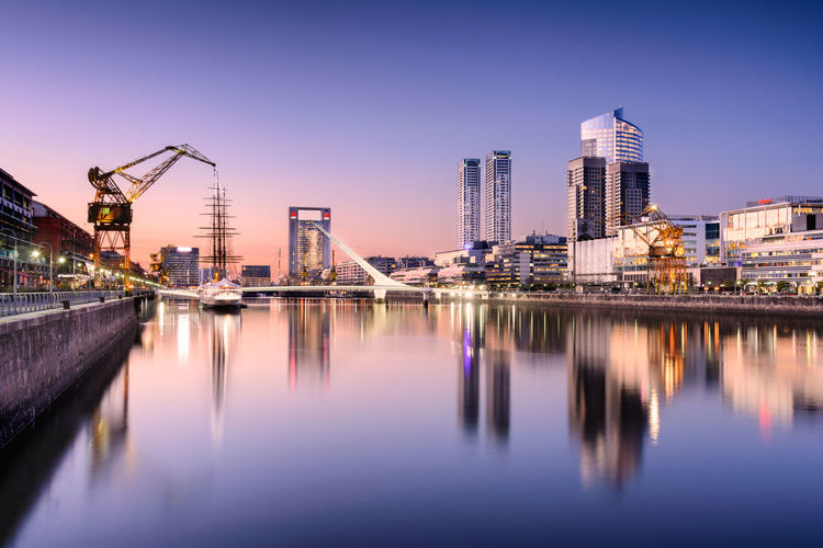 View of puerto madero against clear sky at dusk