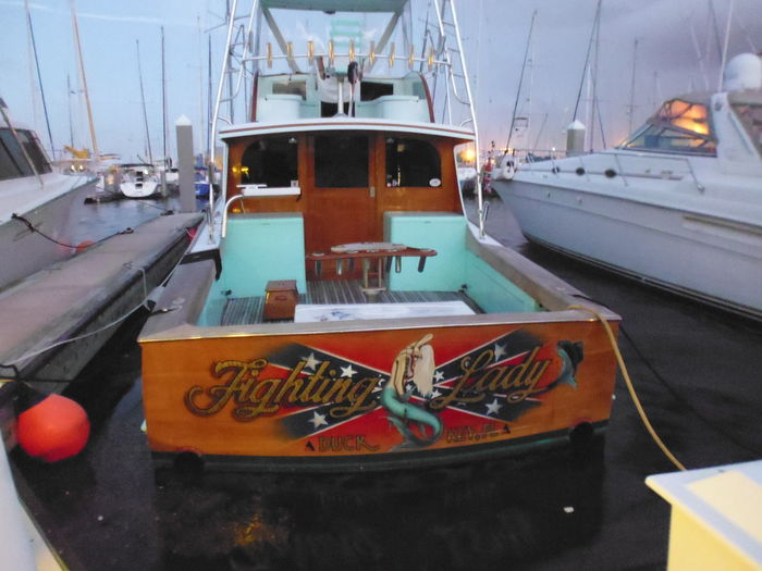 """The Fighting Lady"" - At the Pier - Port Canaveral, FL Port Canaveral Port Canaveral, FL 32920 Susan A. Case Sabir The Fighting Lady Unretouched Photography At The Pier Colorful Different Than The Rest Moored Moored Boat Nautical Theme Nautical Vessel Outdoors Water"