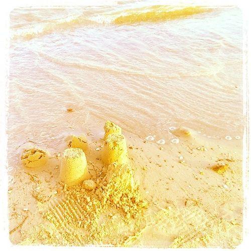 Remains of a sand castle Lalondelesmaures Sandcastle Beach Plage SouthFrance
