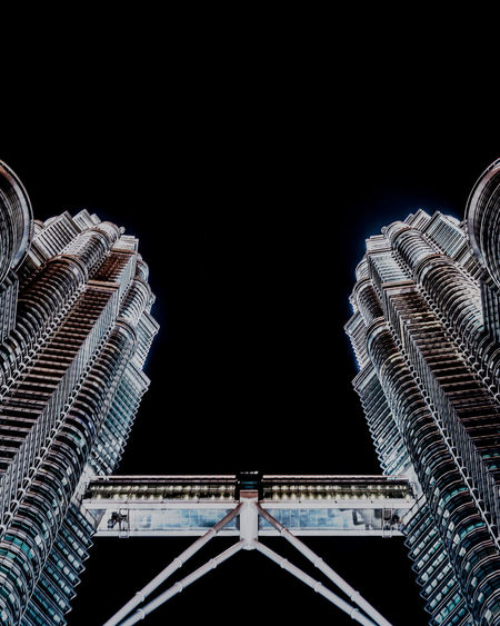 Architecture Built Structure Building Exterior Low Angle View Copy Space City Bridge Night Bridge - Man Made Structure Connection No People Travel Destinations Building Tower Sky Skyscraper Office Building Exterior Nature Clear Sky Tall - High Twin Towers Malaysia Truly Asia