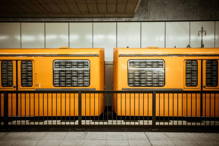 Graffiti on train in city