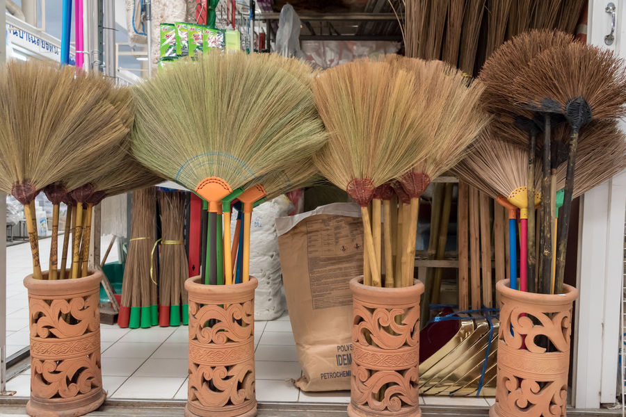 Brooms  Thailand Arrangement Choice Collection Day For Sale Indoors  Large Group Of Objects Market Market Stall No People Pattern Retail  Shelf Store Traditional Variation