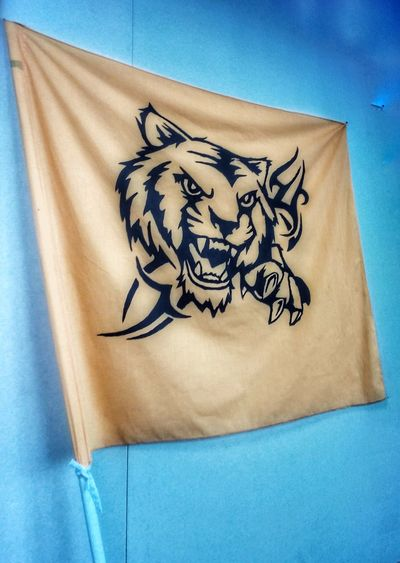 Harimau Malaya Flag Tiger Malayan Tiger Flag Pole Yellow Flag Animal Tiger Paper Blue Arts Culture And Entertainment Art And Craft Old-fashioned Close-up Big Cat Drawn Drawing - Art Product Male Likeness