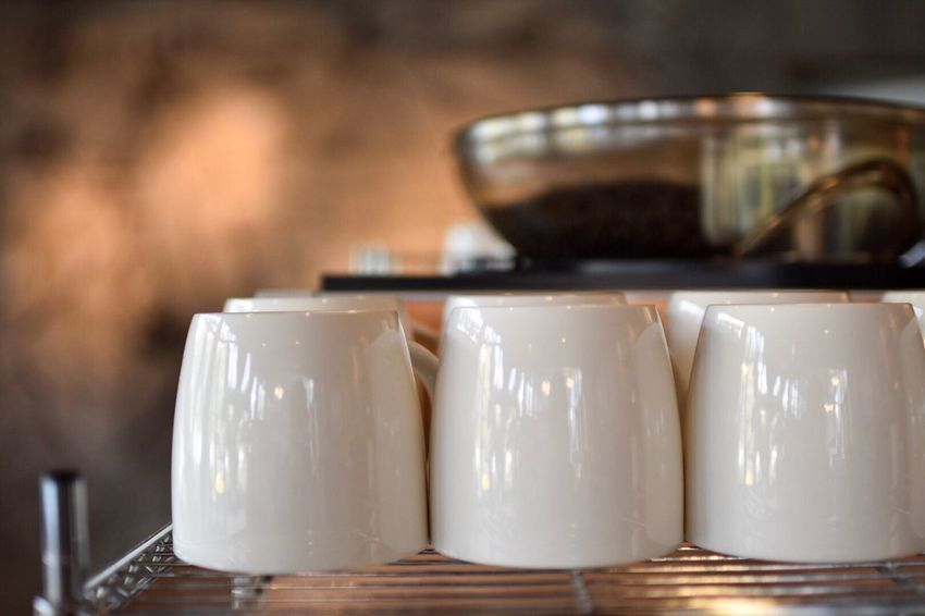coffee not ready yet Focus On Foreground Table Close-up No People Indoors  Freshness Day Coffee Cup Coffee Beans White Focus Blur