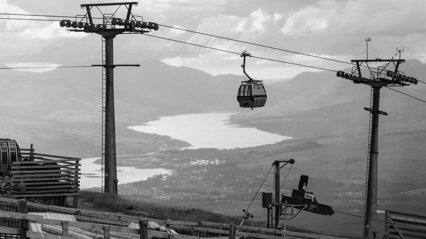 Cable Hanging Electricity  Day Outdoors Sky Overhead Cable Car Electricity Pylon Ski Lift Telephone Line Technology Scotland Highlands Nevis Range Black And White City