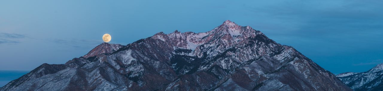 Last Light over the Wasatch Front with the Blue Moon Rising Big Cottonwood Canyon Canyons Salt Lake City Utah WasatchFront Blue Moon Blue Moon 2018 Little Cottonwood Canyon Moon Surface Mountain Mountains And Sky Supermoon Supermoon2016 Wasatch