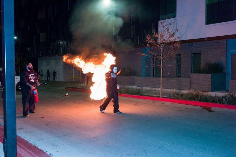 Austin Texas Burning Candid Downtown Austin Machete Performance Public Streetphotography