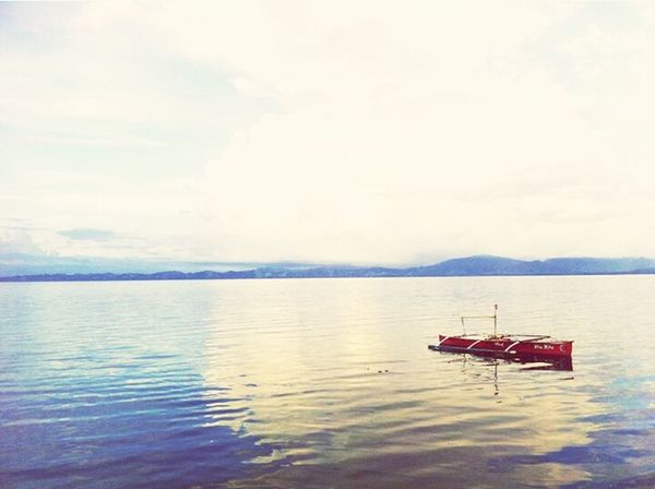 Floating... Readboat Alone Lonelyboat Afloat Seascape Tranquility