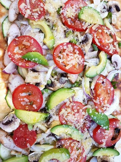 Pizza Full Frame Backgrounds No People Food And Drink Close-up Food Indoors  Freshness Day Ready-to-eat grill vegetables tomato cheese heat avocado
