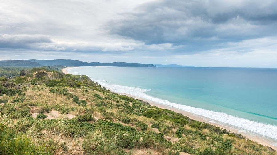 Scenic view from the neck lookout Bruny Island Tourist Attraction  Beach Beauty In Nature Bruny Island Tasmania Cloud - Sky Coastline Day Environment Horizon Over Water Idyllic Lagoon Land Nature No People Non-urban Scene Outdoors Plant Scenics - Nature Sea Sky The Neck Lookout Tranquil Scene Tranquility Turquoise Colored Water