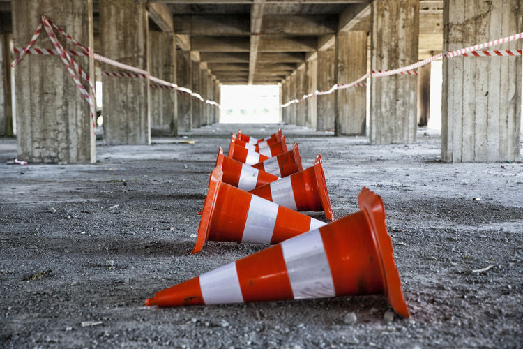 View of traffic cones