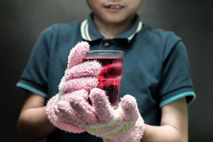 Close-up Cold Drink Freshness Front View Gloves Holding Indoors  Millennial Pink One Person Photography Themes Pink Gloves Red Drink Warm Clothing Visual Feast BYOPaper! Mix Yourself A Good Time