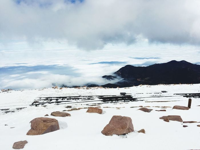 Mountain Top Pikes Peak Summit Nature Tranquility Beauty In Nature Tranquil Scene Winter Scenics Sky Cold Temperature Outdoors Cloud - Sky Frozen Snow Landscape