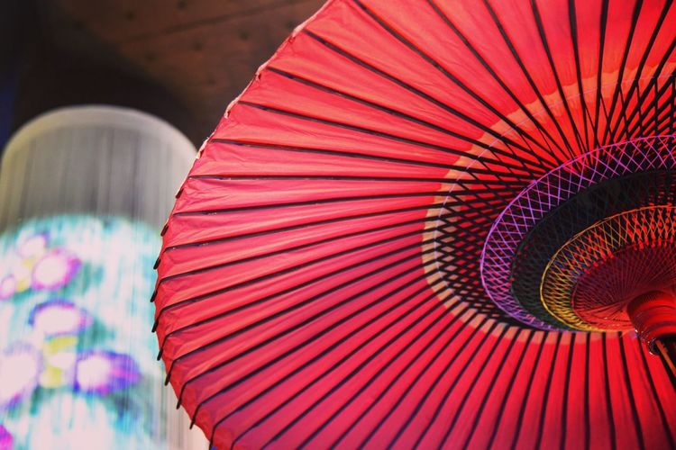 Low Angle View Of Red Chinese Umbrella