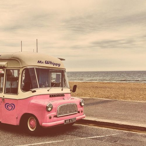 Icecream by the sea Beach Mode Of Transport Red Transportation Vacations Sea Sky Outdoors Land Vehicle Day Sunset Seaside Sun Colour Tradition Great Britain England Beach Bournemouth EyeEmNewHere