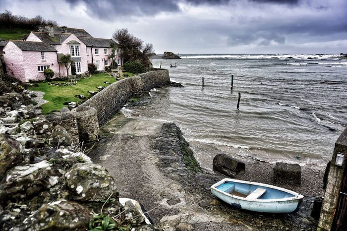 Bude Cornwall Sea Built Structure Beauty In Nature Beach Tranquility Building Exterior Architecture Painted Houses Seaside Seascape Beach Photography Moody Moody Sky Muted Tones Boat Boats Live For The Story
