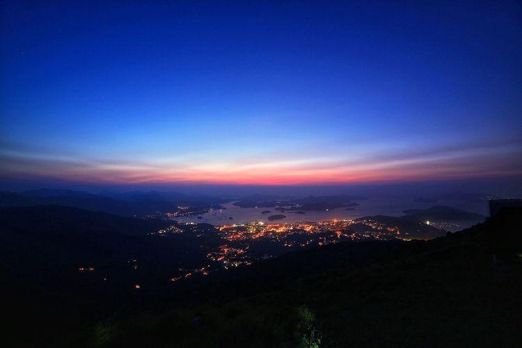 破曉 第三鏡 Blue No People Nature Scenics Outdoors Sky Mountain Silhouette Beauty In Nature Sunset Tranquility Cityscape Night Architecture City Ngonping Camp Site Ma On Shan Sai Kung HongKong