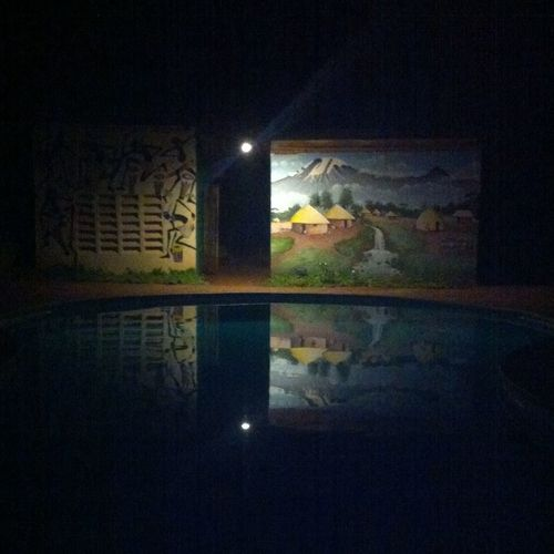 Water Reflections Pool Night Painting