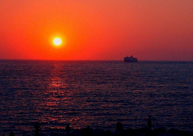 Travelallaround Sea And Sky Amorgos Aegean Sea Aegean Islands Aegiali Viewfrombalcony Sunset_collection Refraction Red Sailing Romantic Sky Atmospheric Mood