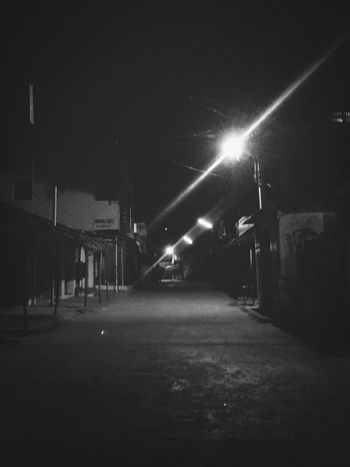 walk the lonely road Black & White Lone Walker Night